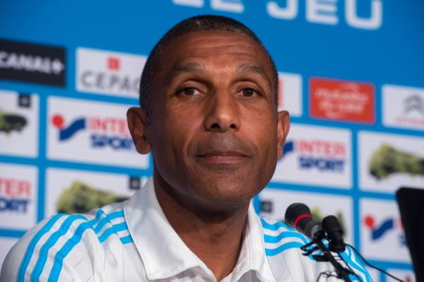 Marseille's French head coach Franck Passi looks on during a press conference on August 14, 2015 two days ahead of L1 football match between Reims and Marseille at the Robert Louis-Dreyfus training centre in Marseille, southern France. AFP PHOTO / BERTRAND LANGLOIS / AFP PHOTO / BERTRAND LANGLOIS